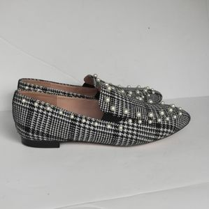 J.CREW PEARL-STUDDED LOAFERS IN GLEN PLAID